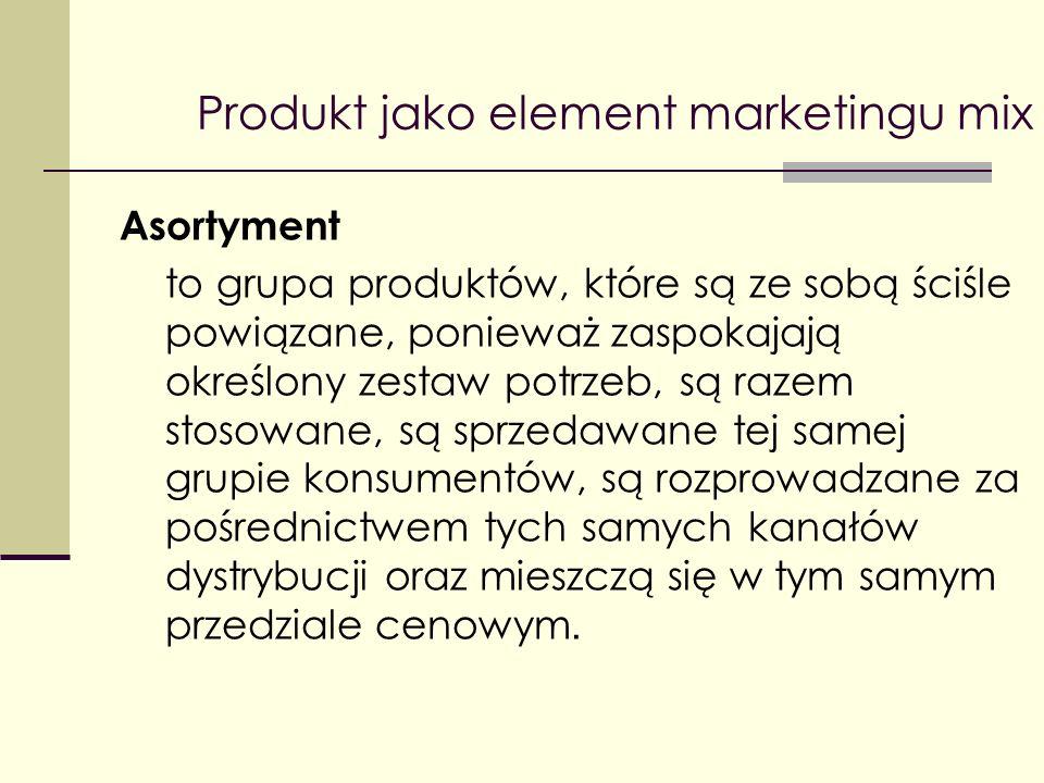 Produkt jako element marketingu mix Asortyment to grupa produktów, które są ze sobą ściśle powiązane, ponieważ zaspokajają określony zestaw potrzeb, s