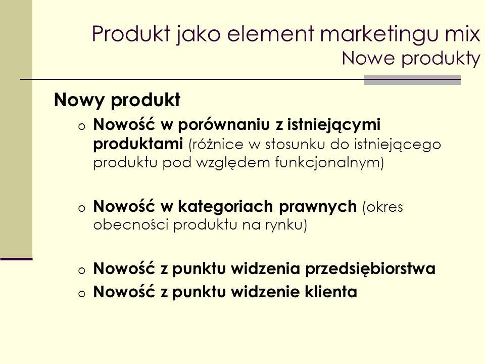 Produkt jako element marketingu mix Nowe produkty Nowy produkt o Nowość w porównaniu z istniejącymi produktami (różnice w stosunku do istniejącego pro
