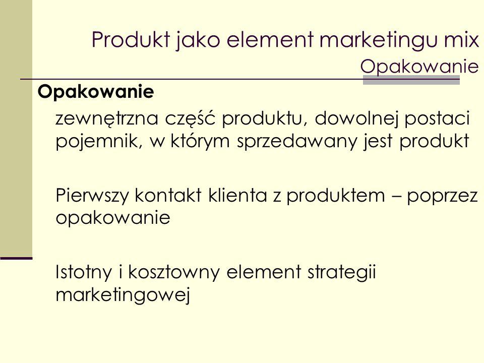 Produkt jako element marketingu mix Opakowanie Opakowanie zewnętrzna część produktu, dowolnej postaci pojemnik, w którym sprzedawany jest produkt Pier