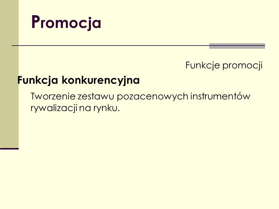 P romocja Funkcje promocji Funkcja konkurencyjna Tworzenie zestawu pozacenowych instrumentów rywalizacji na rynku.