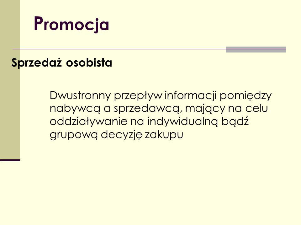 P romocja Sprzedaż osobista Dwustronny przepływ informacji pomiędzy nabywcą a sprzedawcą, mający na celu oddziaływanie na indywidualną bądź grupową de