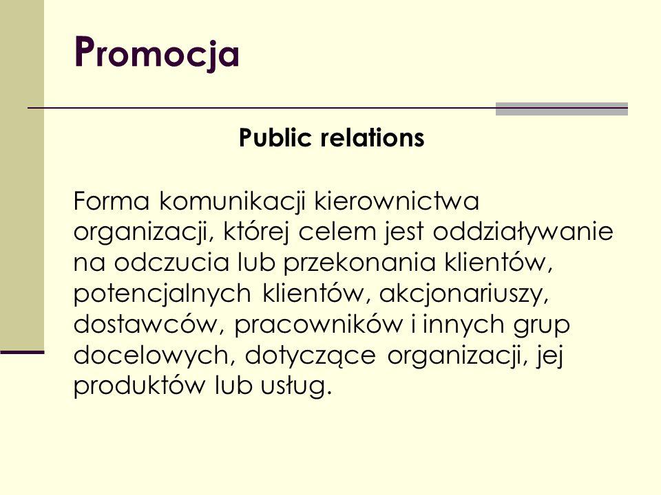 P romocja Public relations Forma komunikacji kierownictwa organizacji, której celem jest oddziaływanie na odczucia lub przekonania klientów, potencjal