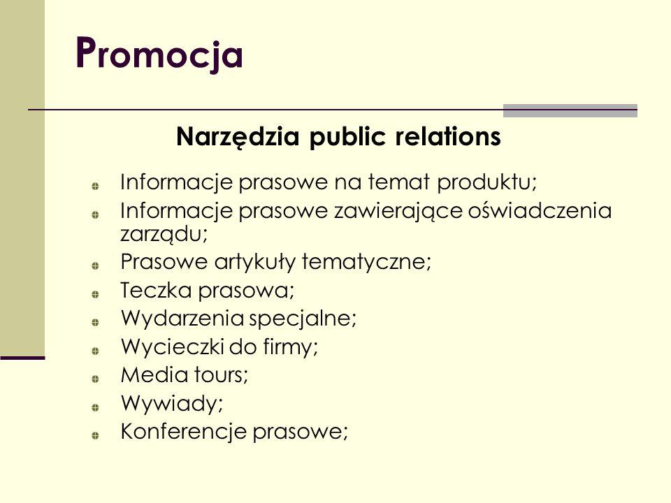 P romocja Narzędzia public relations Informacje prasowe na temat produktu; Informacje prasowe zawierające oświadczenia zarządu; Prasowe artykuły temat