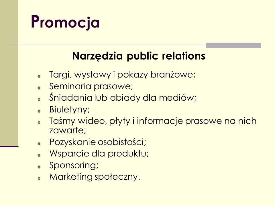 P romocja Narzędzia public relations Targi, wystawy i pokazy branżowe; Seminaria prasowe; Śniadania lub obiady dla mediów; Biuletyny; Taśmy wideo, pły