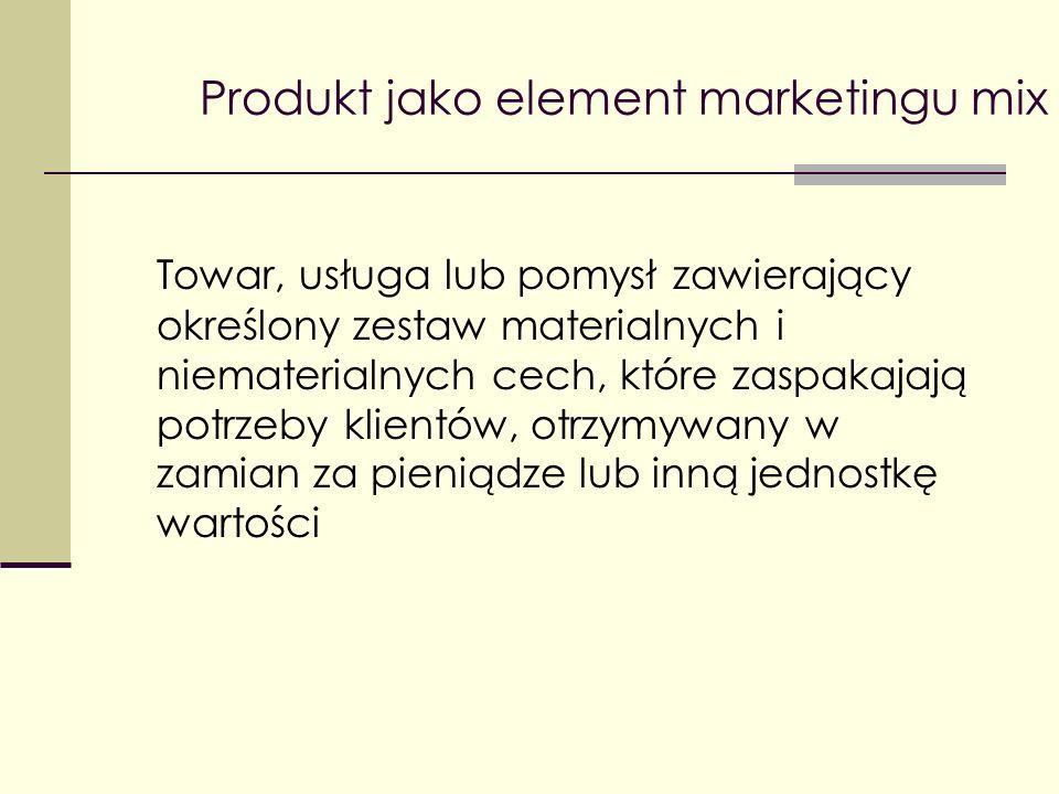 Produkt jako element marketingu mix Atrybuty materialne obejmują cechy fizyczne, takie jak kolor lub poziom słodkości.