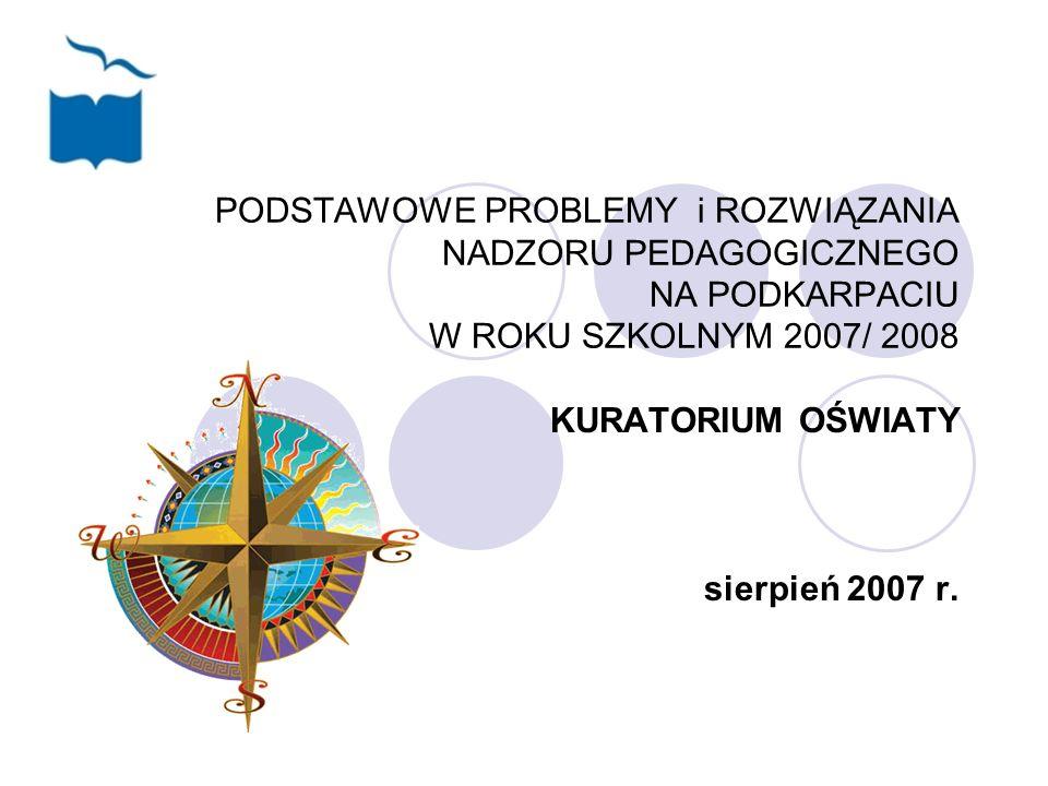PODSTAWOWE PROBLEMY i ROZWIĄZANIA NADZORU PEDAGOGICZNEGO NA PODKARPACIU W ROKU SZKOLNYM 2007/ 2008 KURATORIUM OŚWIATY sierpień 2007 r.