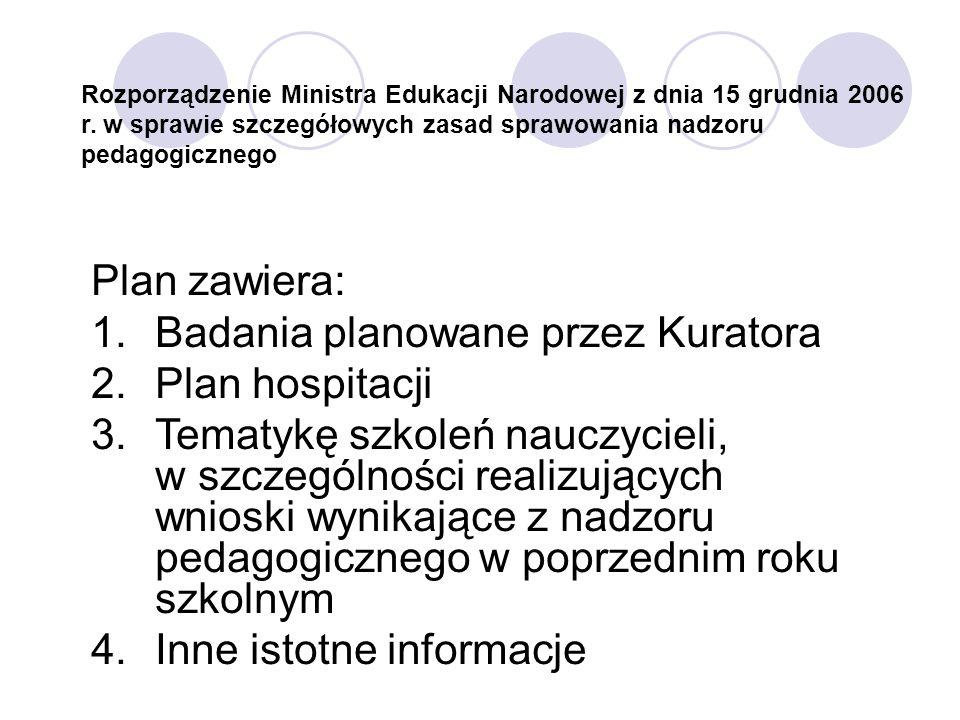 Rozporządzenie Ministra Edukacji Narodowej z dnia 15 grudnia 2006 r. w sprawie szczegółowych zasad sprawowania nadzoru pedagogicznego Plan zawiera: 1.