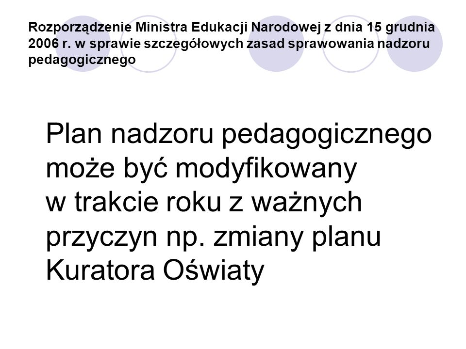 Rozporządzenie Ministra Edukacji Narodowej z dnia 15 grudnia 2006 r. w sprawie szczegółowych zasad sprawowania nadzoru pedagogicznego Plan nadzoru ped