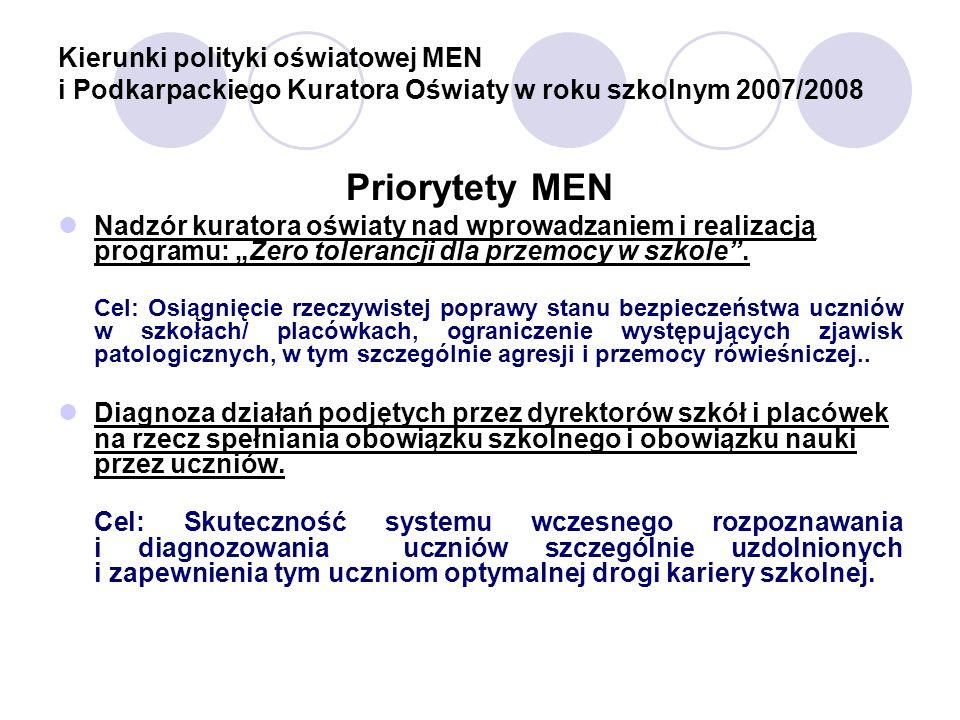 Kierunki polityki oświatowej MEN i Podkarpackiego Kuratora Oświaty w roku szkolnym 2007/2008 Priorytety MEN Nadzór kuratora oświaty nad wprowadzaniem i realizacją programu: Zero tolerancji dla przemocy w szkole.