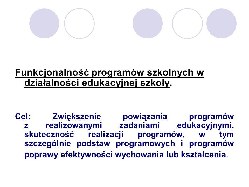 Funkcjonalność programów szkolnych w działalności edukacyjnej szkoły. Cel: Zwiększenie powiązania programów z realizowanymi zadaniami edukacyjnymi, sk
