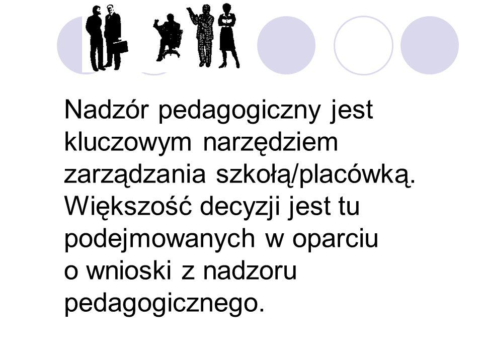 Nadzór pedagogiczny jest kluczowym narzędziem zarządzania szkołą/placówką. Większość decyzji jest tu podejmowanych w oparciu o wnioski z nadzoru pedag