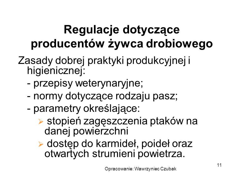 Opracowanie: Wawrzyniec Czubak 11 Regulacje dotyczące producentów żywca drobiowego Zasady dobrej praktyki produkcyjnej i higienicznej: - przepisy wete