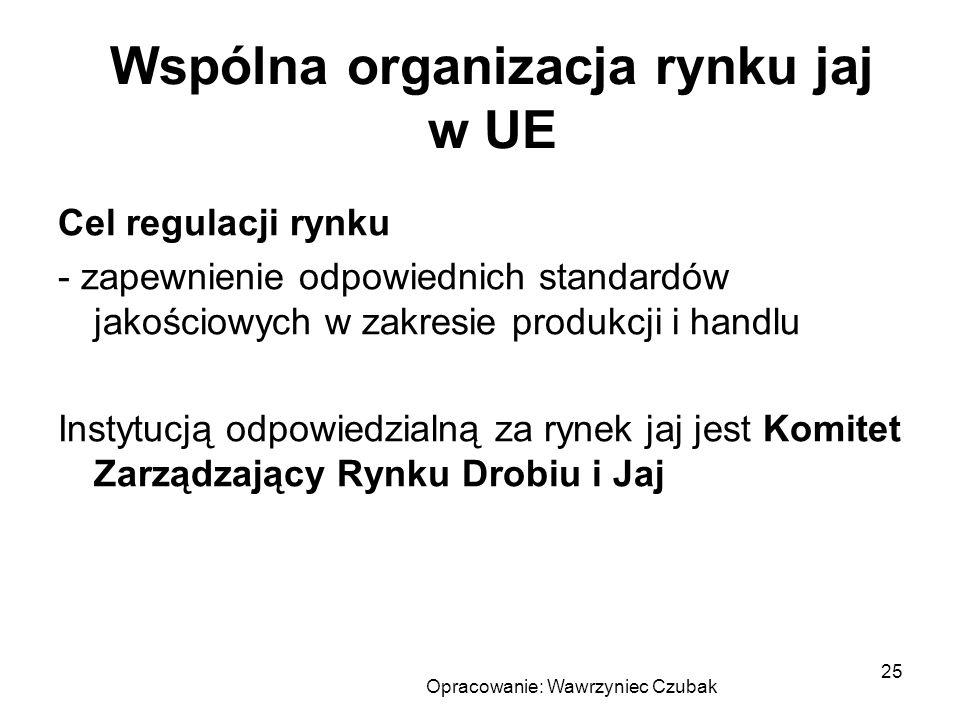 Opracowanie: Wawrzyniec Czubak 25 Wspólna organizacja rynku jaj w UE Cel regulacji rynku - zapewnienie odpowiednich standardów jakościowych w zakresie