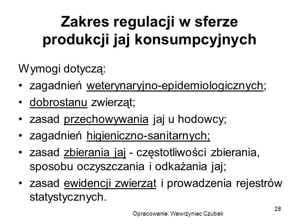 Opracowanie: Wawrzyniec Czubak 28 Zakres regulacji w sferze produkcji jaj konsumpcyjnych Wymogi dotyczą: zagadnień weterynaryjno-epidemiologicznych; d