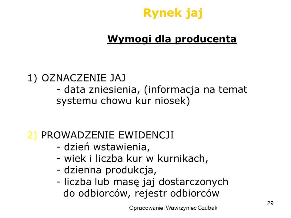 Opracowanie: Wawrzyniec Czubak 29 Rynek jaj 1)OZNACZENIE JAJ - data zniesienia, (informacja na temat systemu chowu kur niosek) Wymogi dla producenta 2