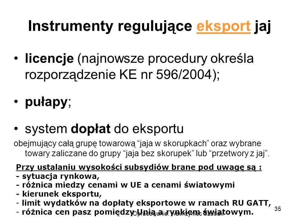 Opracowanie: Wawrzyniec Czubak 35 Instrumenty regulujące eksport jaj licencje (najnowsze procedury określa rozporządzenie KE nr 596/2004); pułapy; sys