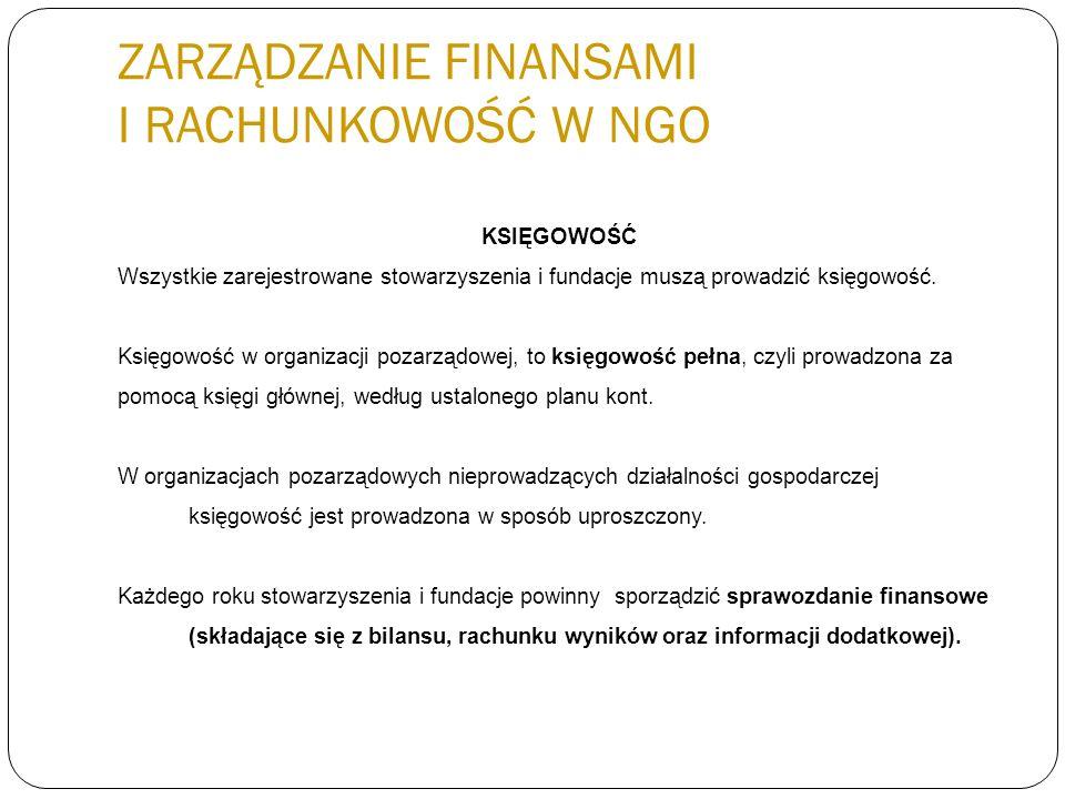 ZARZĄDZANIE FINANSAMI I RACHUNKOWOŚĆ W NGO KSIĘGOWOŚĆ Wszystkie zarejestrowane stowarzyszenia i fundacje muszą prowadzić księgowość. Księgowość w orga