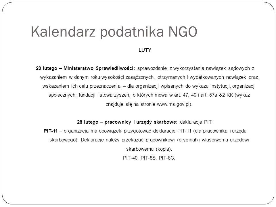 Kalendarz podatnika NGO LUTY 20 lutego – Ministerstwo Sprawiedliwości: sprawozdanie z wykorzystania nawiązek sądowych z wykazaniem w danym roku wysokości zasądzonych, otrzymanych i wydatkowanych nawiązek oraz wskazaniem ich celu przeznaczenia – dla organizacji wpisanych do wykazu instytucji, organizacji społecznych, fundacji i stowarzyszeń, o których mowa w art.