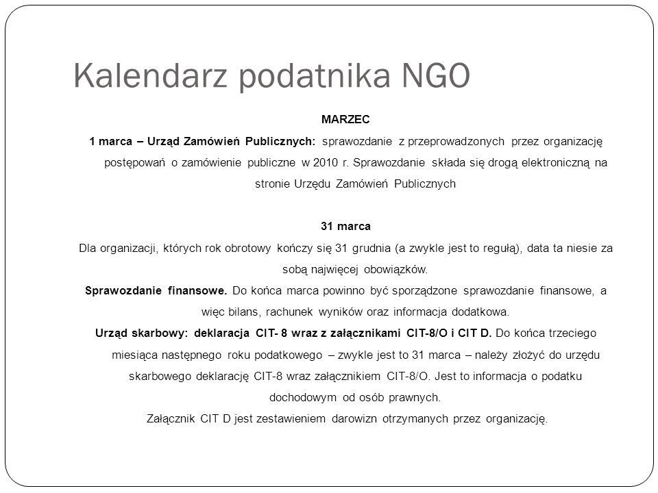 Kalendarz podatnika NGO MARZEC 1 marca – Urząd Zamówień Publicznych: sprawozdanie z przeprowadzonych przez organizację postępowań o zamówienie publiczne w 2010 r.