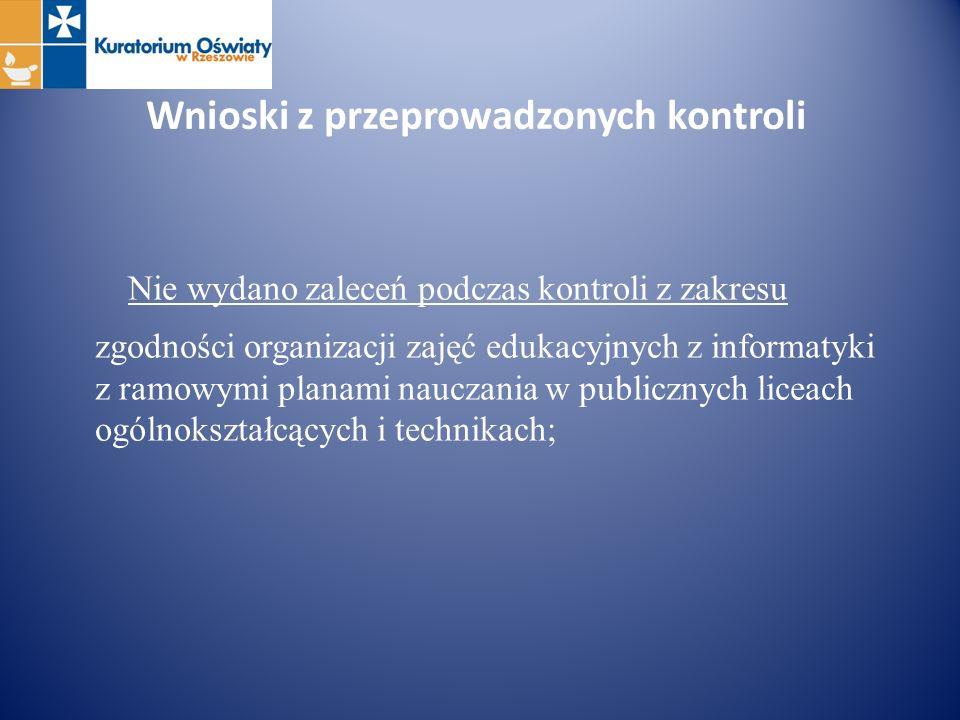 Wnioski z przeprowadzonych kontroli Nie wydano zaleceń podczas kontroli z zakresu zgodności organizacji zajęć edukacyjnych z informatyki z ramowymi pl