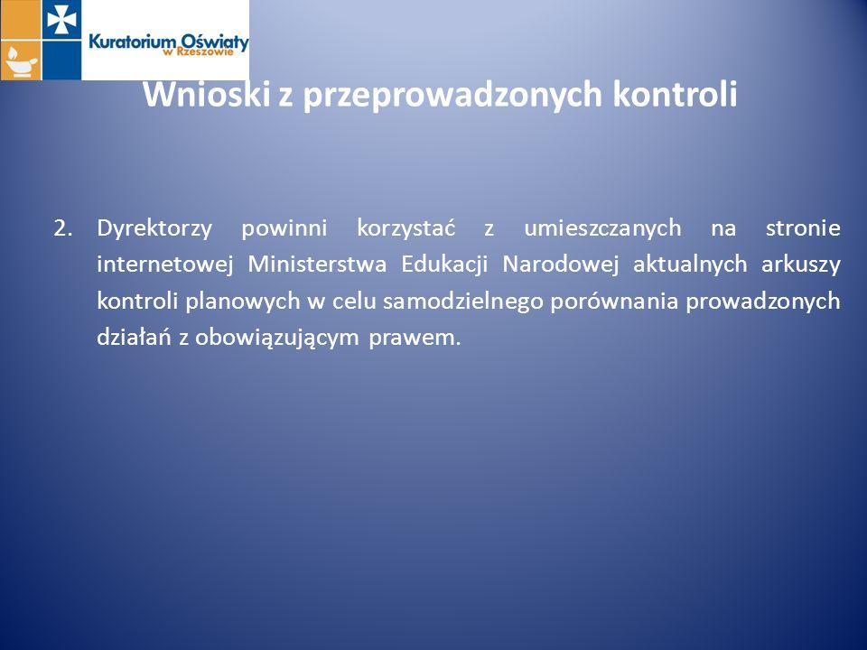 Wnioski z przeprowadzonych kontroli 2.Dyrektorzy powinni korzystać z umieszczanych na stronie internetowej Ministerstwa Edukacji Narodowej aktualnych