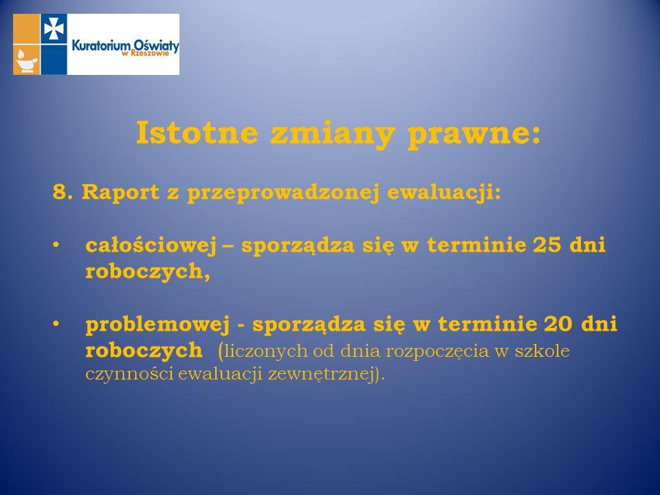 Istotne zmiany prawne: 8. Raport z przeprowadzonej ewaluacji: całościowej – sporządza się w terminie 25 dni roboczych, problemowej - sporządza się w t