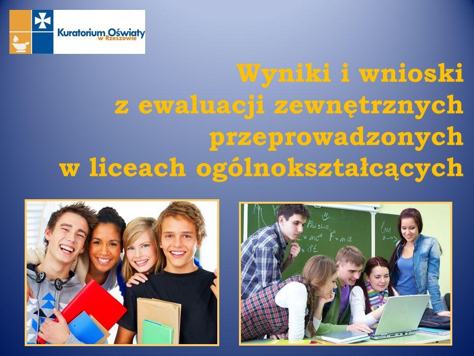 Wyniki i wnioski z ewaluacji zewnętrznych przeprowadzonych w liceach ogólnokształcących