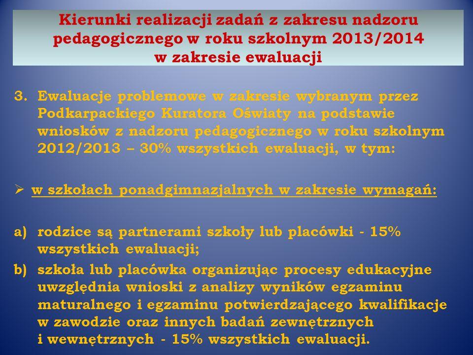 3.Ewaluacje problemowe w zakresie wybranym przez Podkarpackiego Kuratora Oświaty na podstawie wniosków z nadzoru pedagogicznego w roku szkolnym 2012/2