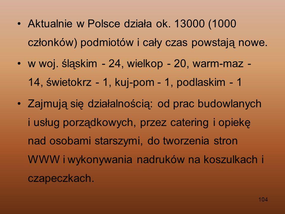 104 Aktualnie w Polsce działa ok. 13000 (1000 członków) podmiotów i cały czas powstają nowe. w woj. śląskim - 24, wielkop - 20, warm-maz - 14, świetok