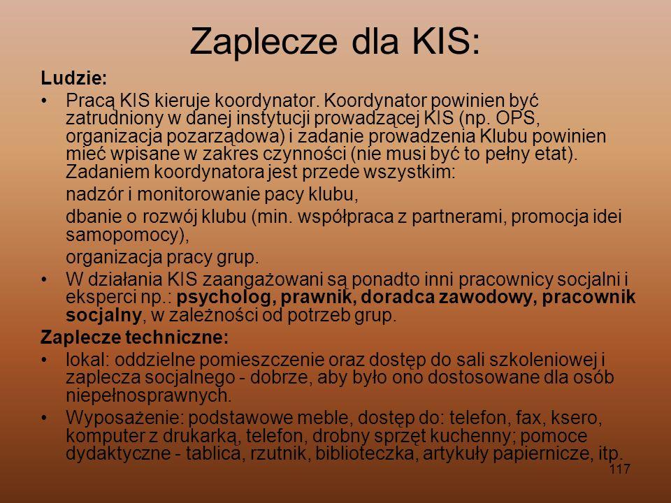117 Zaplecze dla KIS: Ludzie: Pracą KIS kieruje koordynator. Koordynator powinien być zatrudniony w danej instytucji prowadzącej KIS (np. OPS, organiz