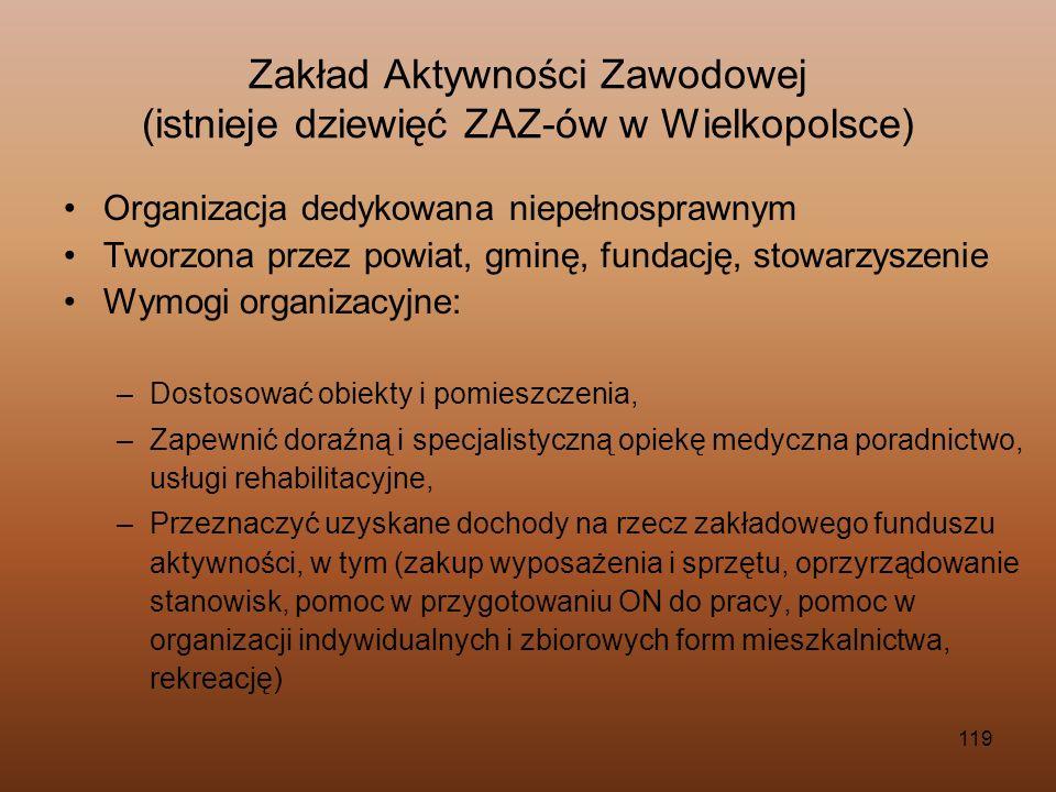119 Zakład Aktywności Zawodowej (istnieje dziewięć ZAZ-ów w Wielkopolsce) Organizacja dedykowana niepełnosprawnym Tworzona przez powiat, gminę, fundac