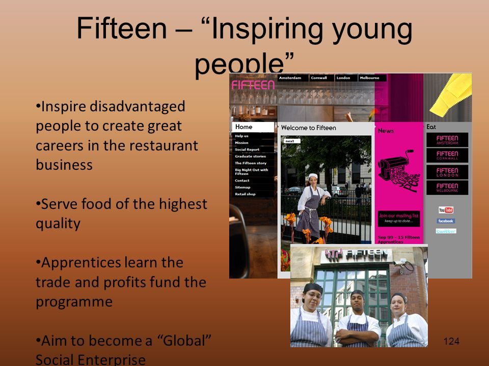 124 Fifteen – Inspiring young people Inspire disadvantaged people to create great careers in the restaurant business Serve food of the highest quality