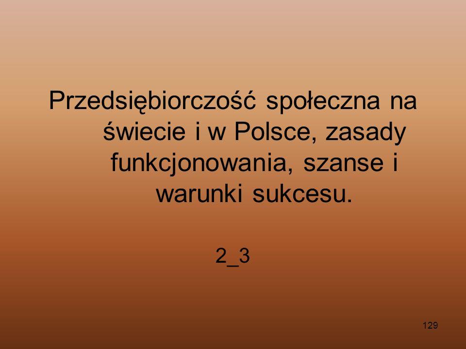 129 Przedsiębiorczość społeczna na świecie i w Polsce, zasady funkcjonowania, szanse i warunki sukcesu. 2_3