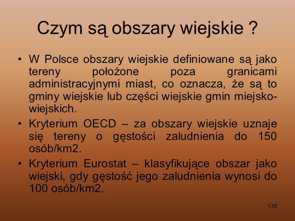136 Czym są obszary wiejskie ? W Polsce obszary wiejskie definiowane są jako tereny położone poza granicami administracyjnymi miast, co oznacza, że są