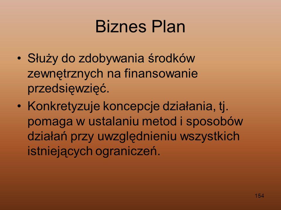 154 Biznes Plan Służy do zdobywania środków zewnętrznych na finansowanie przedsięwzięć. Konkretyzuje koncepcje działania, tj. pomaga w ustalaniu metod