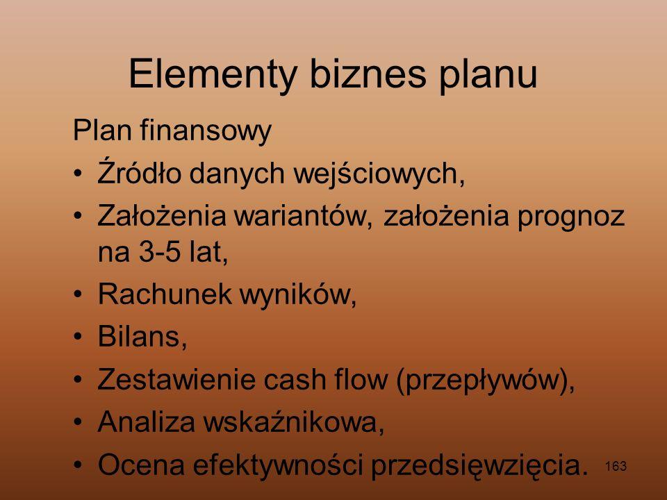163 Plan finansowy Źródło danych wejściowych, Założenia wariantów, założenia prognoz na 3-5 lat, Rachunek wyników, Bilans, Zestawienie cash flow (prze
