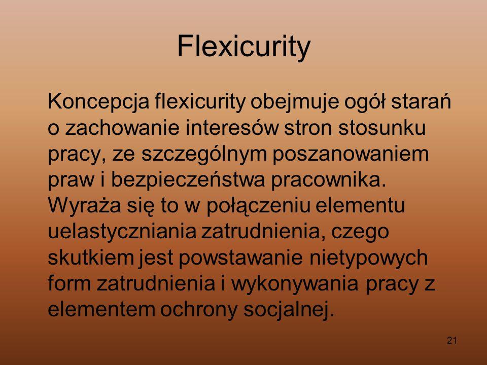 21 Flexicurity Koncepcja flexicurity obejmuje ogół starań o zachowanie interesów stron stosunku pracy, ze szczególnym poszanowaniem praw i bezpieczeńs