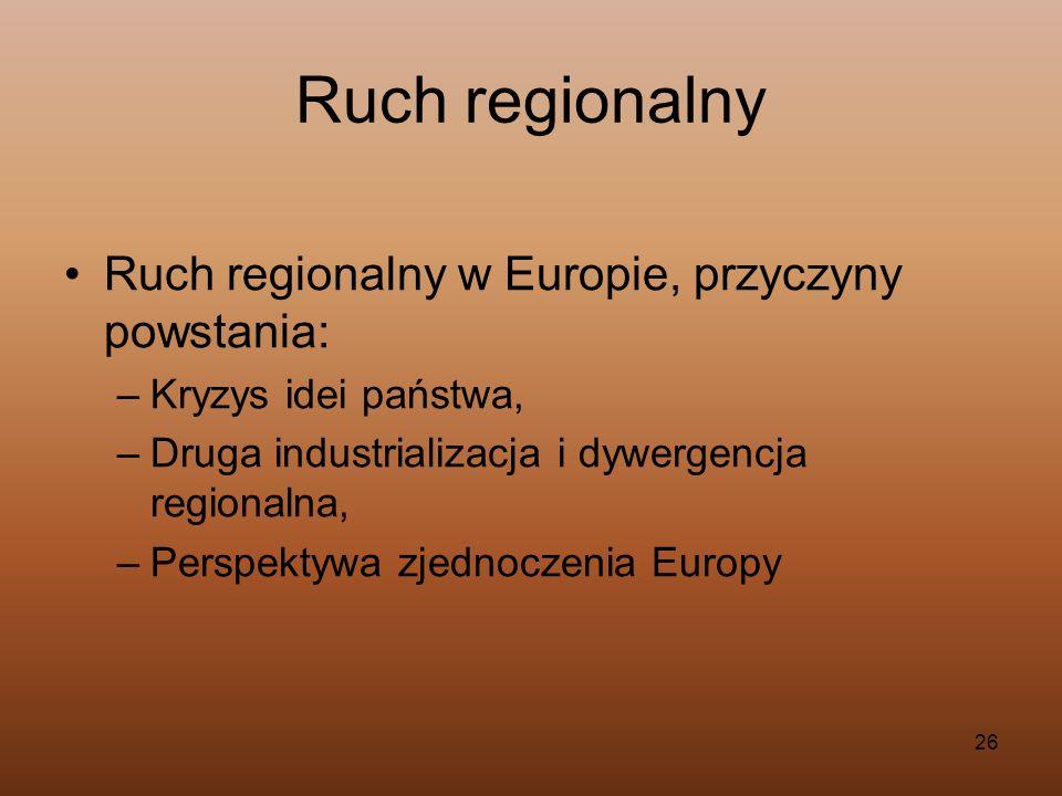 26 Ruch regionalny Ruch regionalny w Europie, przyczyny powstania: –Kryzys idei państwa, –Druga industrializacja i dywergencja regionalna, –Perspektyw