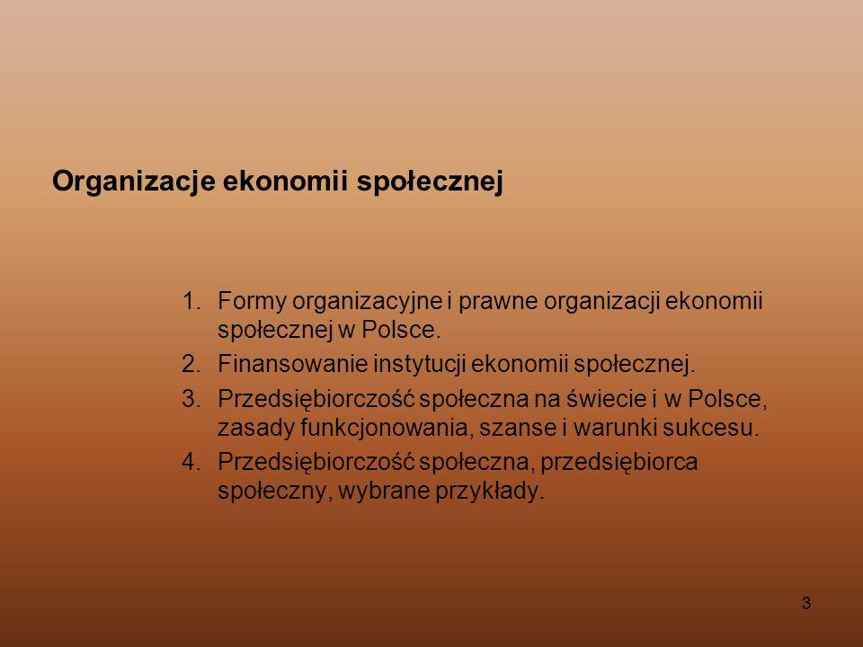3 Organizacje ekonomii społecznej 1.Formy organizacyjne i prawne organizacji ekonomii społecznej w Polsce. 2.Finansowanie instytucji ekonomii społeczn