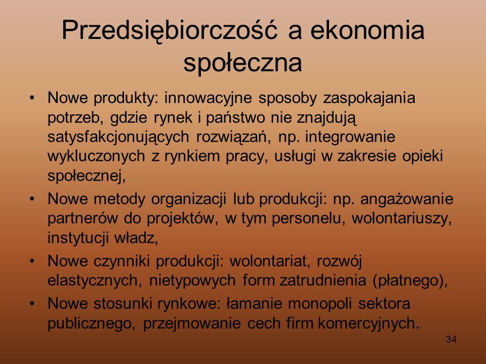 34 Przedsiębiorczość a ekonomia społeczna Nowe produkty: innowacyjne sposoby zaspokajania potrzeb, gdzie rynek i państwo nie znajdują satysfakcjonując