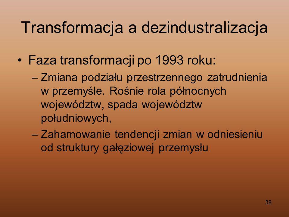 38 Transformacja a dezindustralizacja Faza transformacji po 1993 roku: –Zmiana podziału przestrzennego zatrudnienia w przemyśle. Rośnie rola północnyc
