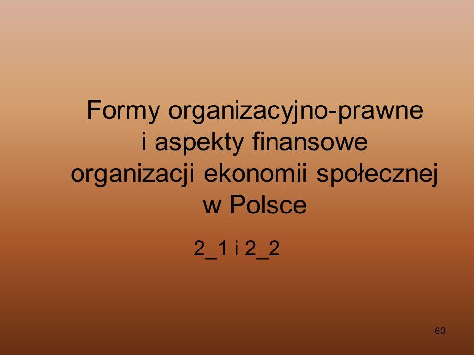 60 Formy organizacyjno-prawne i aspekty finansowe organizacji ekonomii społecznej w Polsce 2_1 i 2_2