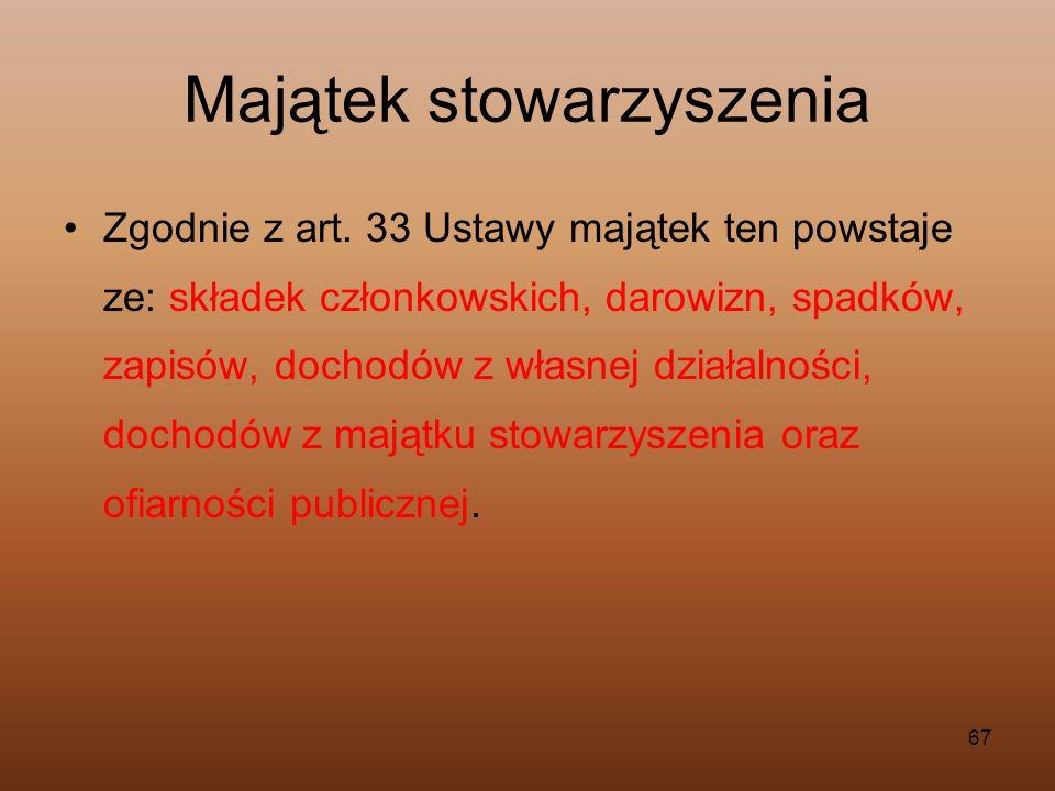 67 Majątek stowarzyszenia Zgodnie z art. 33 Ustawy majątek ten powstaje ze: składek członkowskich, darowizn, spadków, zapisów, dochodów z własnej dzia
