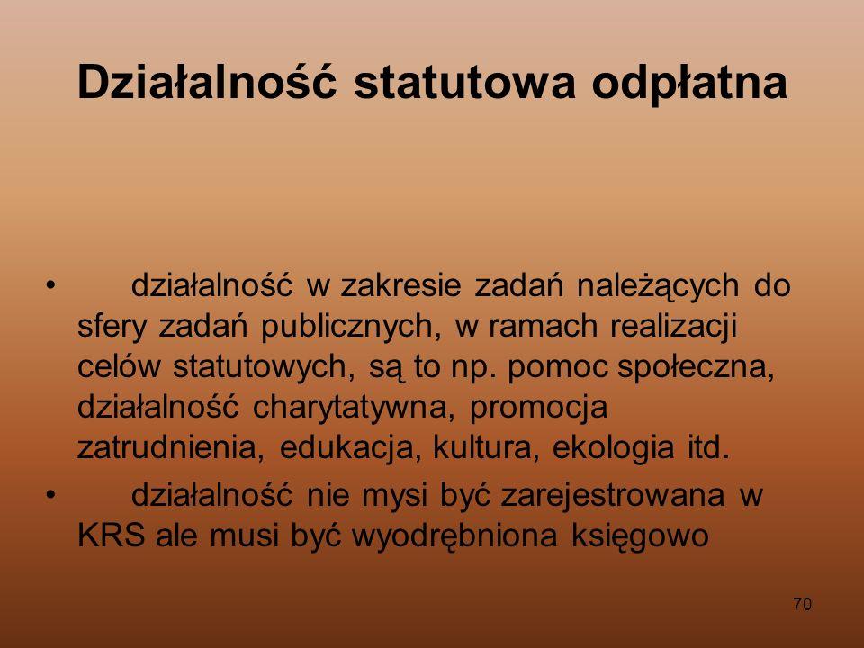 70 Działalność statutowa odpłatna działalność w zakresie zadań należących do sfery zadań publicznych, w ramach realizacji celów statutowych, są to np.