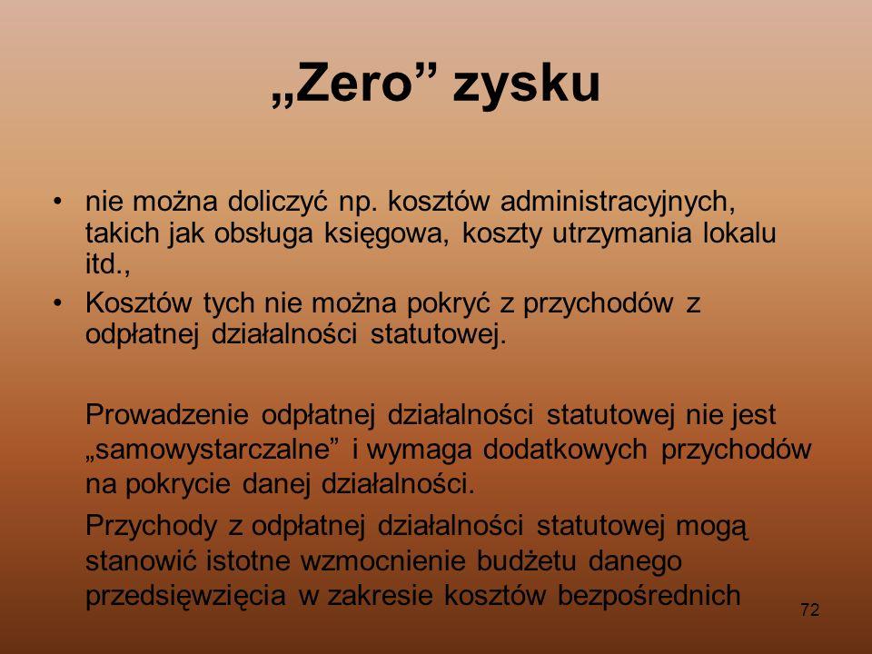 72 Zero zysku nie można doliczyć np. kosztów administracyjnych, takich jak obsługa księgowa, koszty utrzymania lokalu itd., Kosztów tych nie można pok