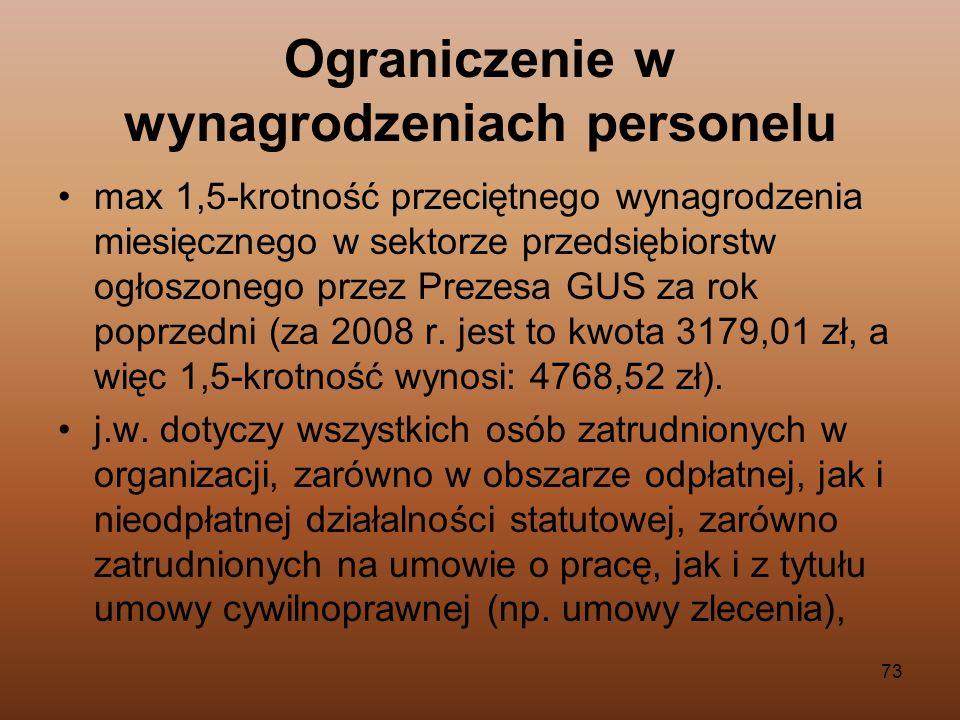 73 Ograniczenie w wynagrodzeniach personelu max 1,5-krotność przeciętnego wynagrodzenia miesięcznego w sektorze przedsiębiorstw ogłoszonego przez Prez