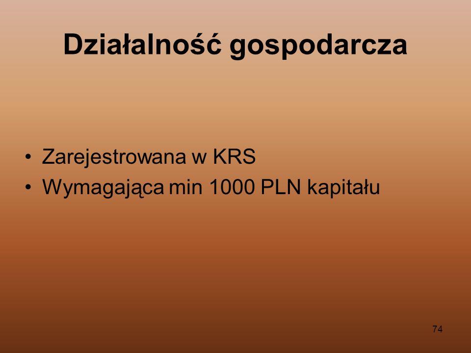 74 Zarejestrowana w KRS Wymagająca min 1000 PLN kapitału Działalność gospodarcza