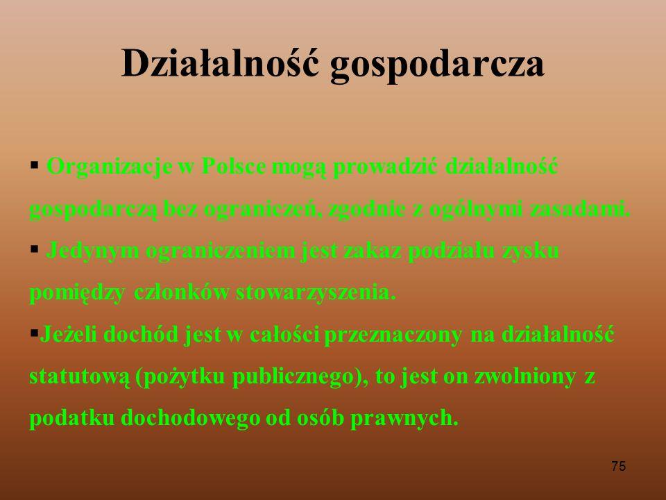 75 Działalność gospodarcza Organizacje w Polsce mogą prowadzić działalność gospodarczą bez ograniczeń, zgodnie z ogólnymi zasadami. Jedynym ograniczen