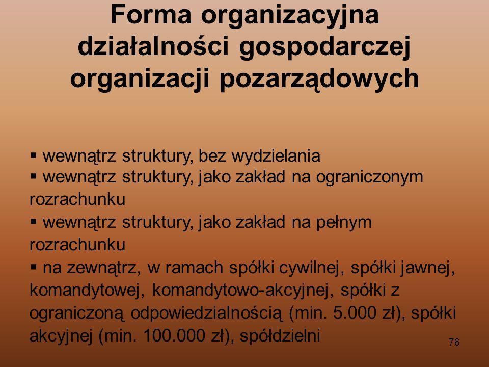 76 Forma organizacyjna działalności gospodarczej organizacji pozarządowych wewnątrz struktury, bez wydzielania wewnątrz struktury, jako zakład na ogra
