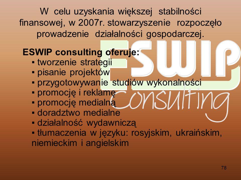 78 ESWIP consulting oferuje: tworzenie strategii pisanie projektów przygotowywanie studiów wykonalności promocję i reklamę promocję medialną doradztwo